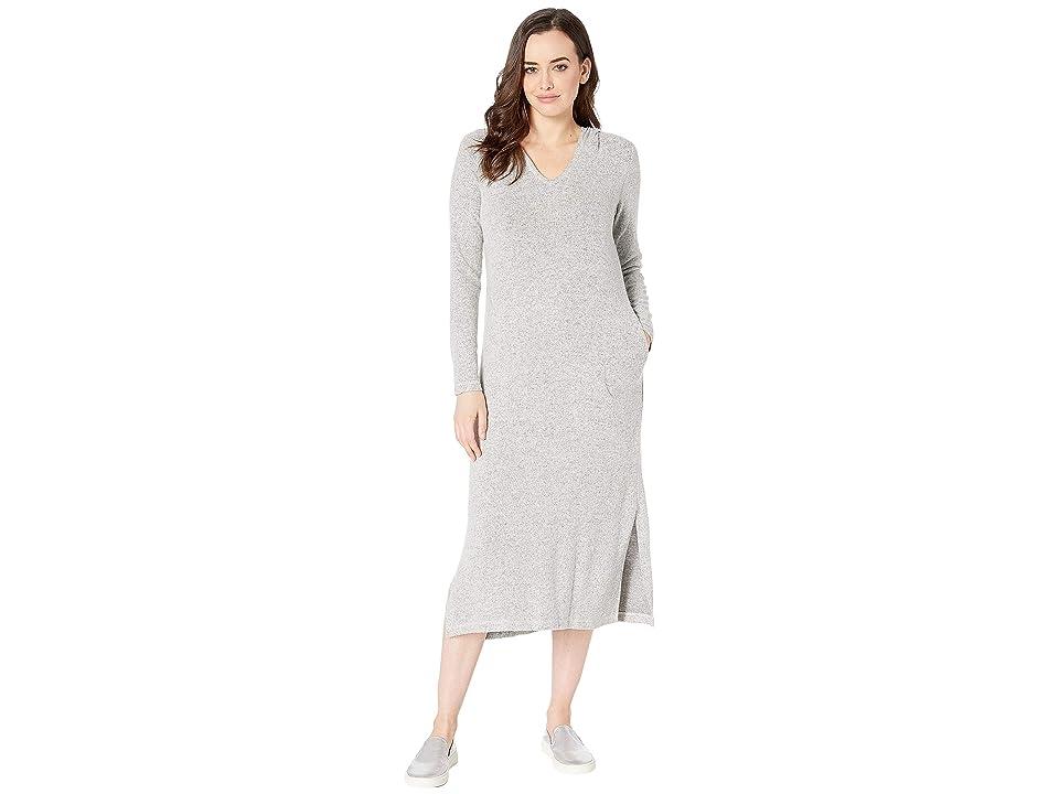 Bobeau Long Sleeve Hacci Maxi Hoodie Dress (Heather Grey) Women