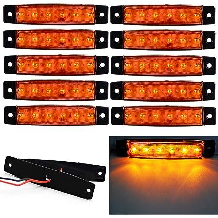 "10x 3.9/"" 3-LED Amber Side Marker Turn Clearance Trailer Truck Light Waterproof"