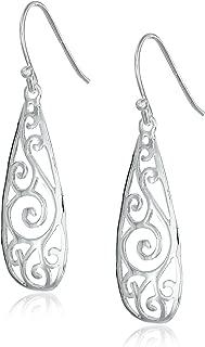 Sterling Silver Filigree Tear Drop Earrings