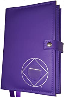 Double Narcotics Anonymous NA Basic Text & It Works, How & Why Book Cover Medallion Holder Purple Orchid