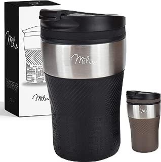 Milu Thermobecher Isolierbecher Kaffeebecher to go - 210ml 100% Auslaufsicher - Trinkbecher aus Edelstahl - Autobecher doppelwand Isolierung - Thermo Becher - Travel Mug (Schwarz)