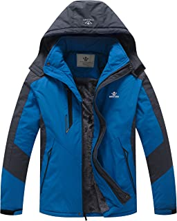 WenVen Men`s Waterproof Ski Jacket Windproof Fleece Liner Insulated Rain Coat