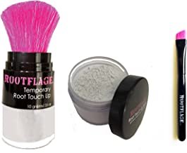 Rootflage Root Touch Up - Icy Platinum White Temporary Hair Color, Brass Banisher, Root Concealer, Thinning Hair Powder with Kabuki Applicator + Rootflage Refill + Small Detail Brush (ICE HOUSE)