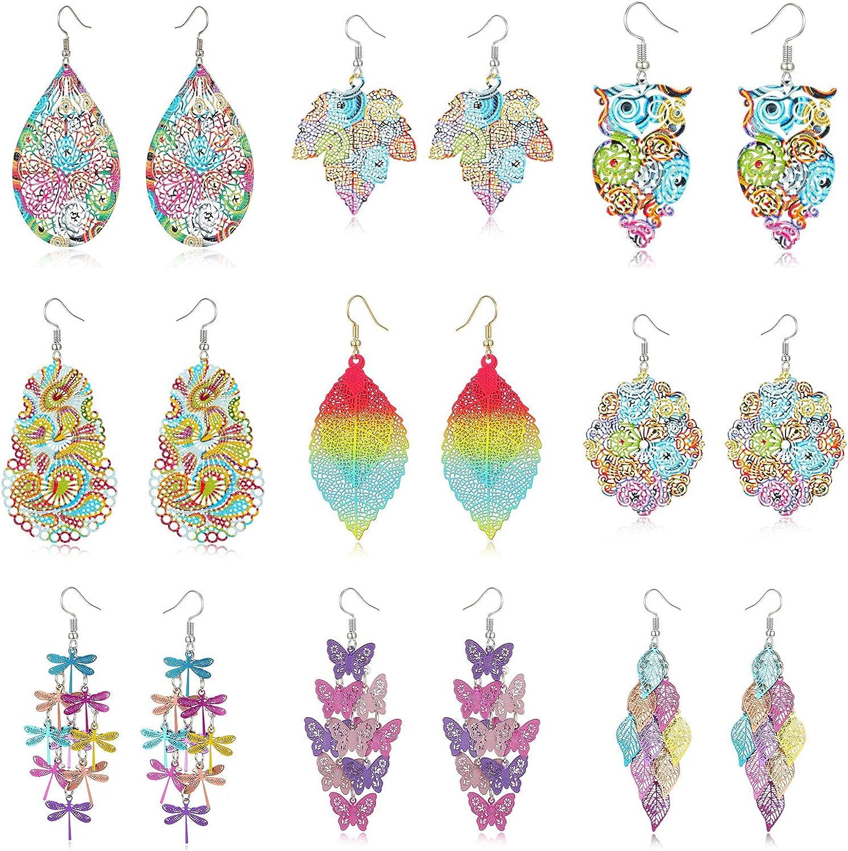 MengPa Colourful Drop Earring Set Butterfly Dragonfly Owl Leaf Dangle Earrings for Women