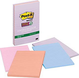 Post-it Recycled Super Sticky Notes, 2x Sticking Power, 4 in x 6 in, Bali Collection, Lined, 4 Pads/Pack, 45 Sheets/Pad (4...