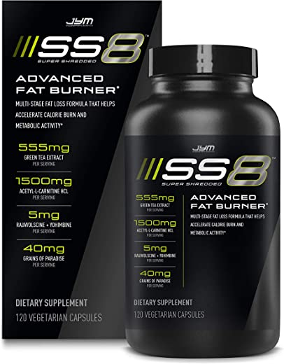 Jym SS8 Super Shredded 8|Advanced Fat Burner, Acetyl-L Carnitine, Tyrosine, Green Tea Extract, Caffeine, Capsimax, Grains of Paradise, Yohimbe, Rauwolscine|Jym Supplement Science|120 Capsules