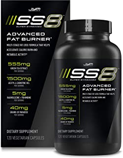 Jym SS8 Super Shredded 8 | Advanced Fat Burner, Acetyl-L Carnitine, Tyrosine, Green Tea Extract, Caffeine, Capsimax, Grain...