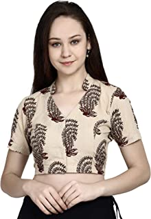 780299b7b20162 Molcha Cotton Sanganeri Printed Sleeveled Front open Blouse with a hal  collar and a V shape