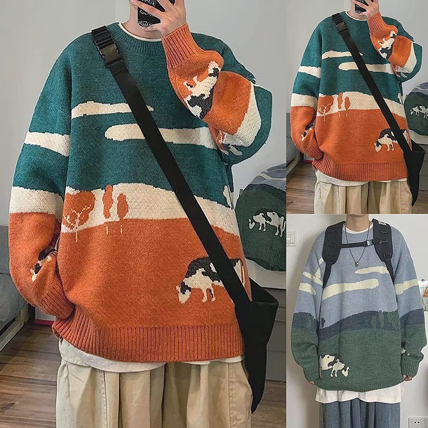 Youth Men Cows Vintage Winter Sweaters Pullover Mens O-Neck Korean Fashions Knit Sweater Women Casual Harajuku Clothes