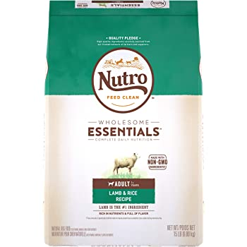NUTRO WHOLESOME ESSENTIALS Adult Natural Dry Dog Food Lamb & Rice Recipe, 15 lb. Bag
