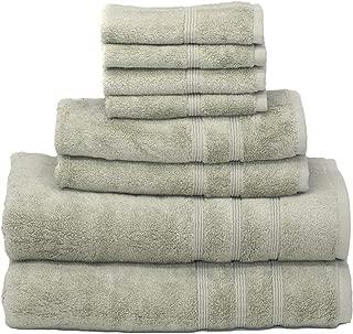 Mosobam 700 GSM Luxury Bamboo 8pc Large Oversized Bathroom Set, Green, 2 Bath Towels 30X58 2 Hand Towels 16X30 4 Face Washcloths (Wash Cloth) 13X13, Bulk Prime Turkish Towel Sheets Sets