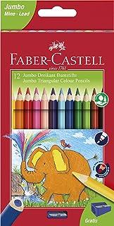 Faber-Castell 116501 Lot de 12 crayons de couleur triangulaires Jumbo
