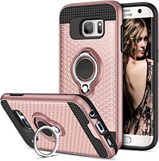 Vofolen Case for Galaxy S7 Edge Case Ring Holder Kickstand Rotational Clip Hybrid Shield Heavy Duty Armor Dual Layer Protective Hard Shell TPU Bumper Cover Case for Samsung Galaxy S7 Edge (Rose Gold)