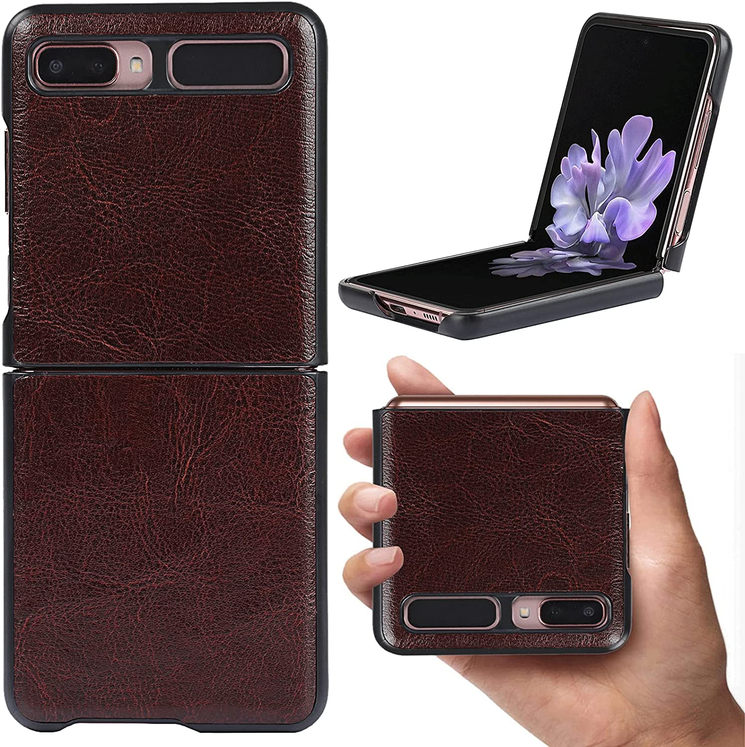Frolan Case for Samsung Galaxy Z Flip 5G, Genuine Leather Case Luxurious Premium Cow Leather Drop Protection Shockproof Cover Compatible Samsung Galaxy Z Flip 5G (Dark Brown)