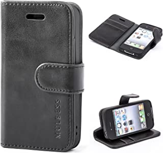 Mulbess iPhone 4s Protective Cover, Magnetic Closure RFID Blocking Luxury Flip Folio Leather Wallet Phone Case with Card Slots and Kickstand for iPhone 4s / 4, Black