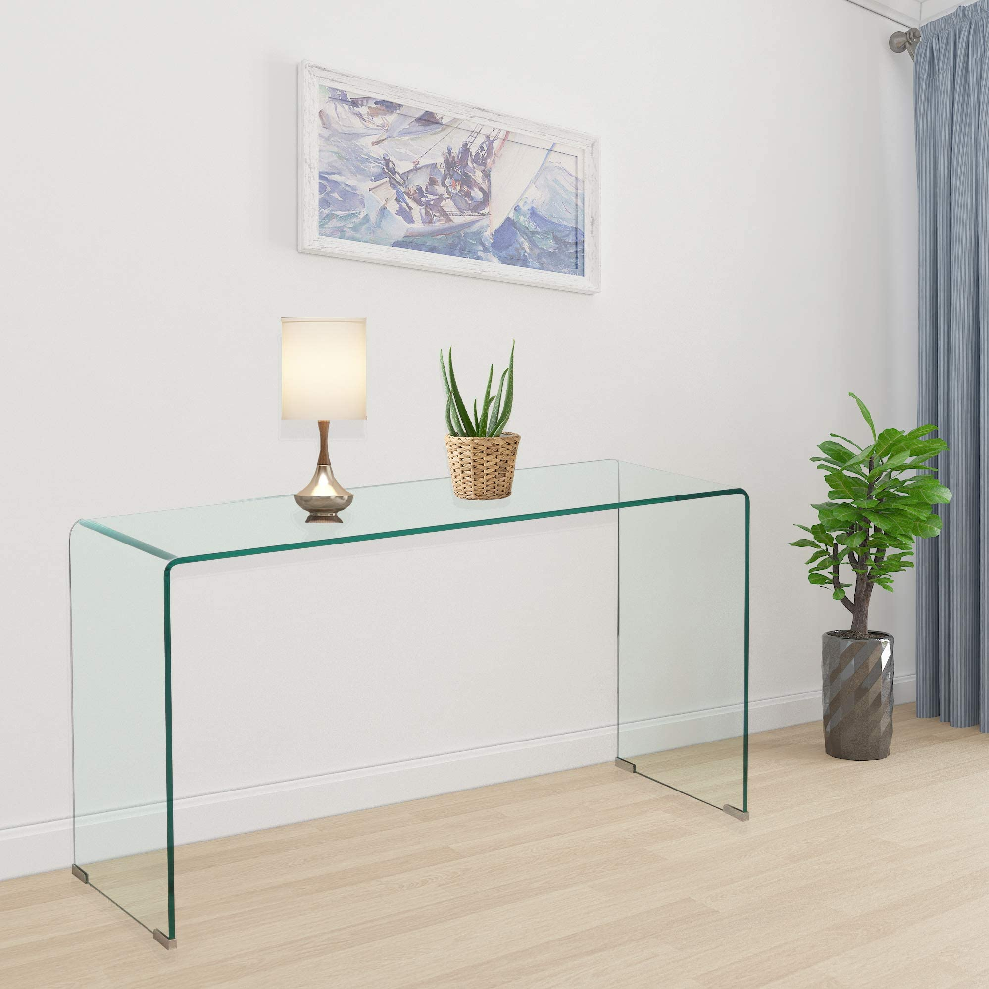 2020 Clear Glass Narrow Console Table Behind Couch Table 10 Inch Narrow Entryway Table(43.3x13.8x29.5 inch)