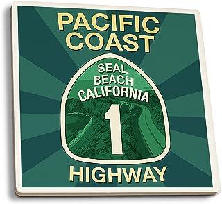Highway 1, California–sello playa–Pacific Coast Highway Sign, cerámica, Multicolor, 4 Coaster Set