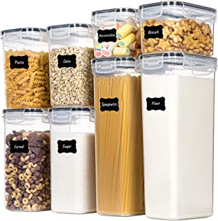 Airtight Food Storage Containers with Lids, Chefstory 8 PCS Plastic Storage Containers for Kitchen & Pantry Organization a...