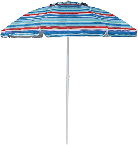 discount Sunnydaze 6-Foot Striped Vented Beach online Umbrella with Tilt Function and online sale UV 50 Sun Protection, Multiple Color Options Available outlet sale