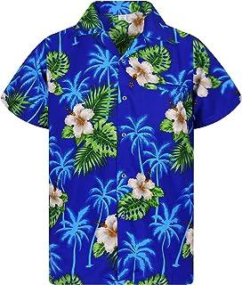 V.H.O. Funky Hawaiian Shirt | Men | XS-12XL | Short-Sleeve | Front-Pocket | Hawaiian-Print | Small Flower Summer | Multipl...
