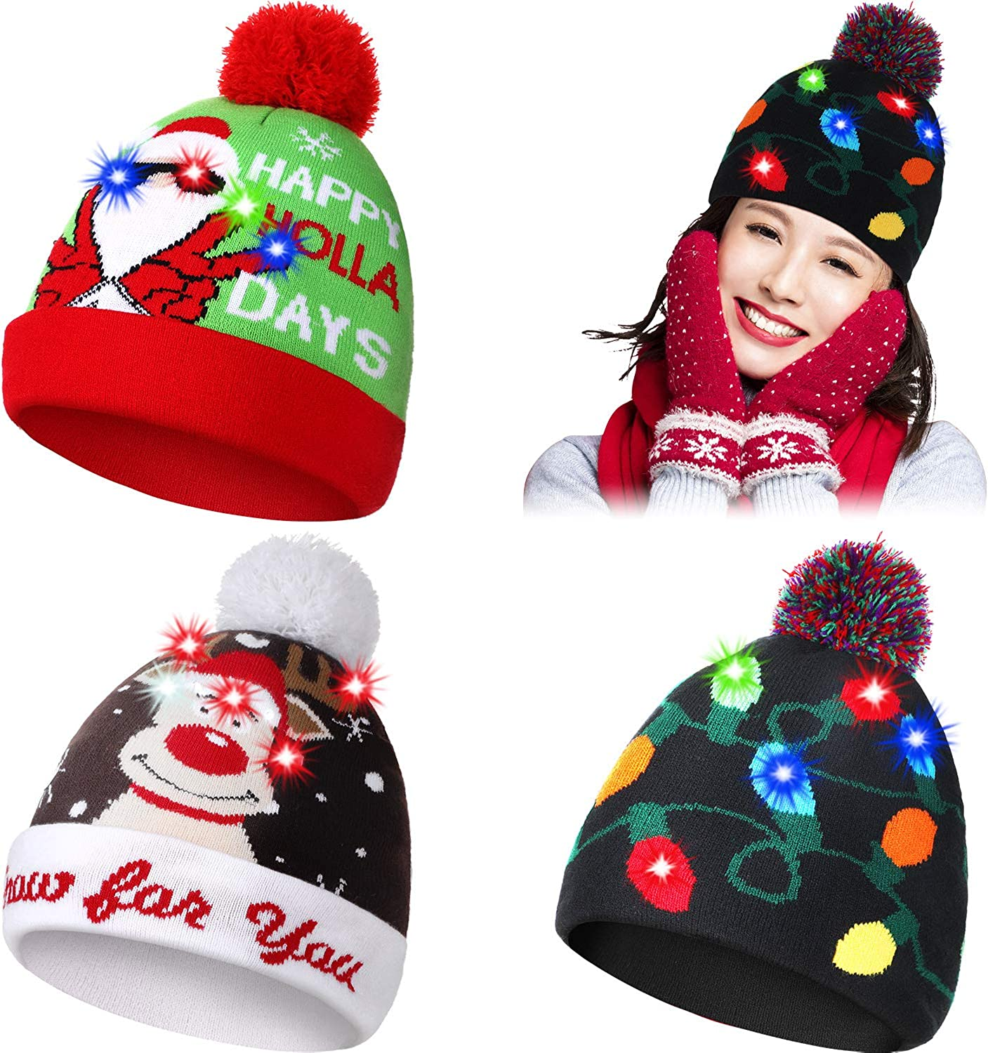 Geyoga 3 Pieces LED Light Up Christmas Hat Ugly Christmas Beanie Hat Knitted Xmas Hat Santa Winter Bulb Hat for Holiday Christmas Party Xmas Costumes