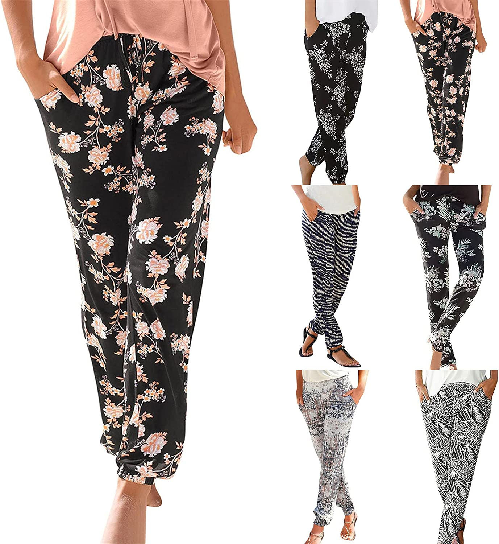 ZAKIO Summer Lounge Sweatpants for Women Boho Printed Jogging Athletic Pants Loose Fit Elastic Waist Yoga Trousers