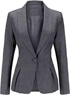 YYNUDA Women's Blazer Slim Fit Long Sleeve Office Work Blazer Jacket One Button Formal Suit Jacket