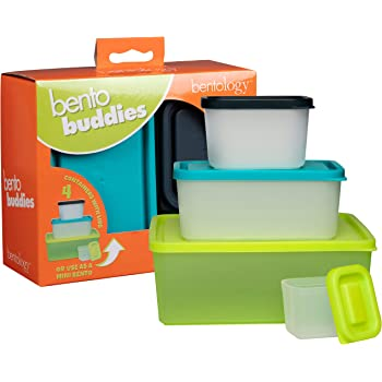 Bentology Snack Buddies - Mini Bento Snack Lunch Box w 4 Portion Control Meal Containers and Lids - BPA, PVC Free, Food Safe – On-the-Go lunchbox - Lime