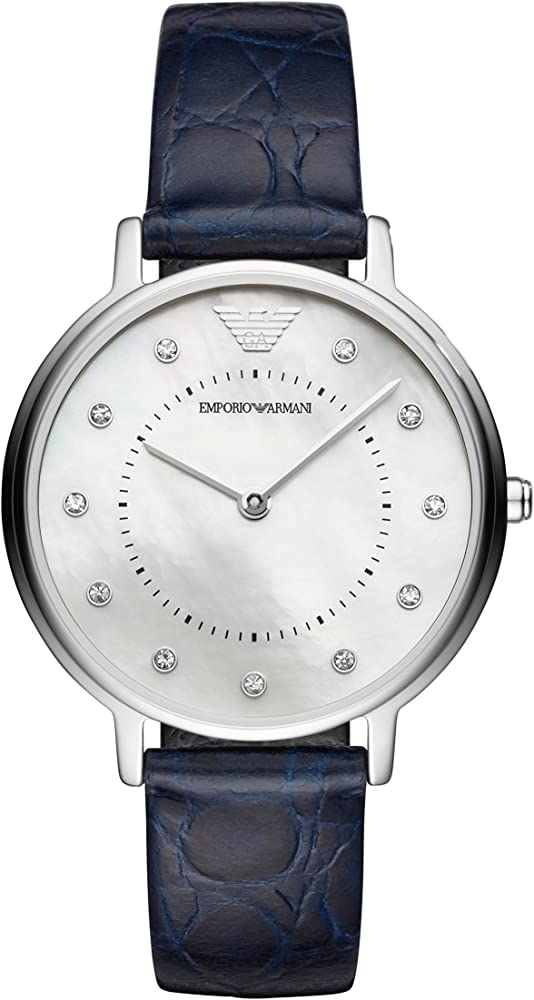 Emporio armani, orologio analogico quarzo da donna con cinturino in pelle con quadrante in madreperla AR11095