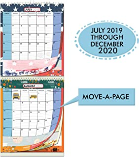 Large Wall Calendar 2019-2020 by StriveZen, 2 Month View, Monthly Wall Planner, Vertical, Move-a-Page, Holiday Style