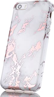 LUOLNH iPhone 5 Case,iPhone 5S SE Case,Shiny Rose Gold Metallic Grey Marble Design, LUOLNH Shockproof Clear Bumper TPU Soft Case Rubber Silicone Skin Cover Case for iPhone 5 5s SE