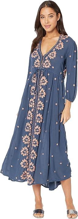 Embroidered V Maxi Dress
