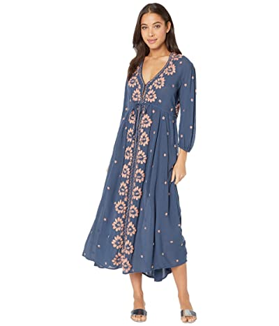 Free People Embroidered V Maxi Dress (Navy) Women