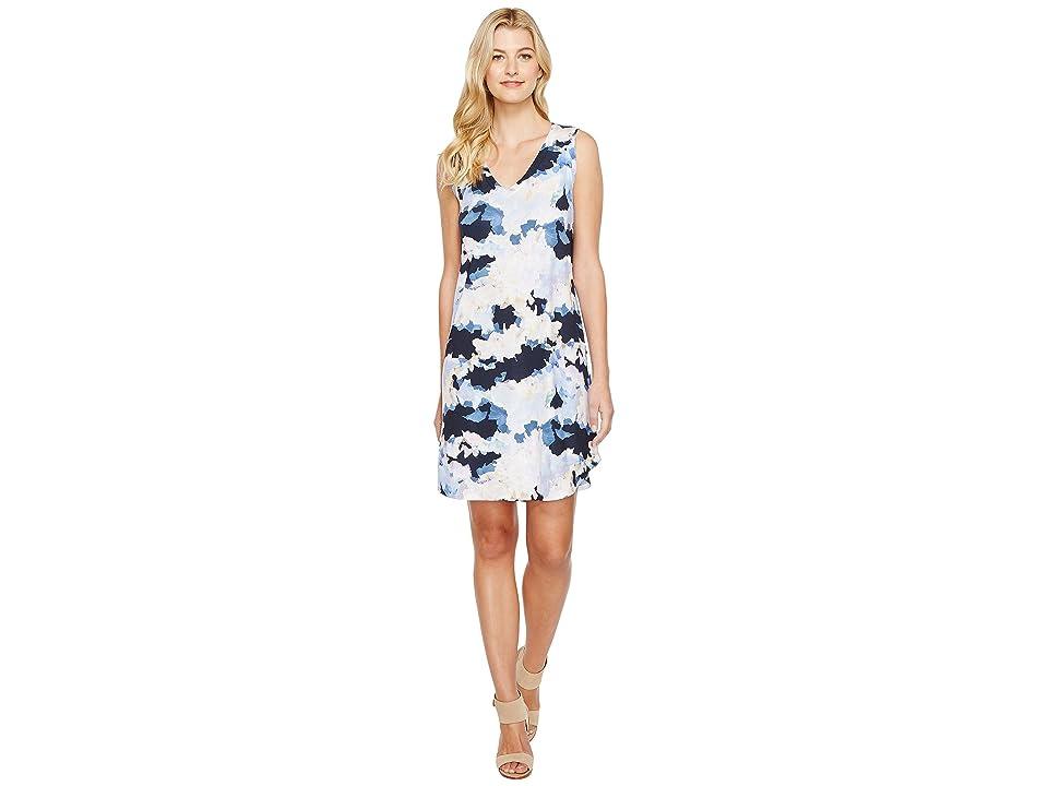 Nally & Millie Cloud Print V-Neck Dress (Multi) Women