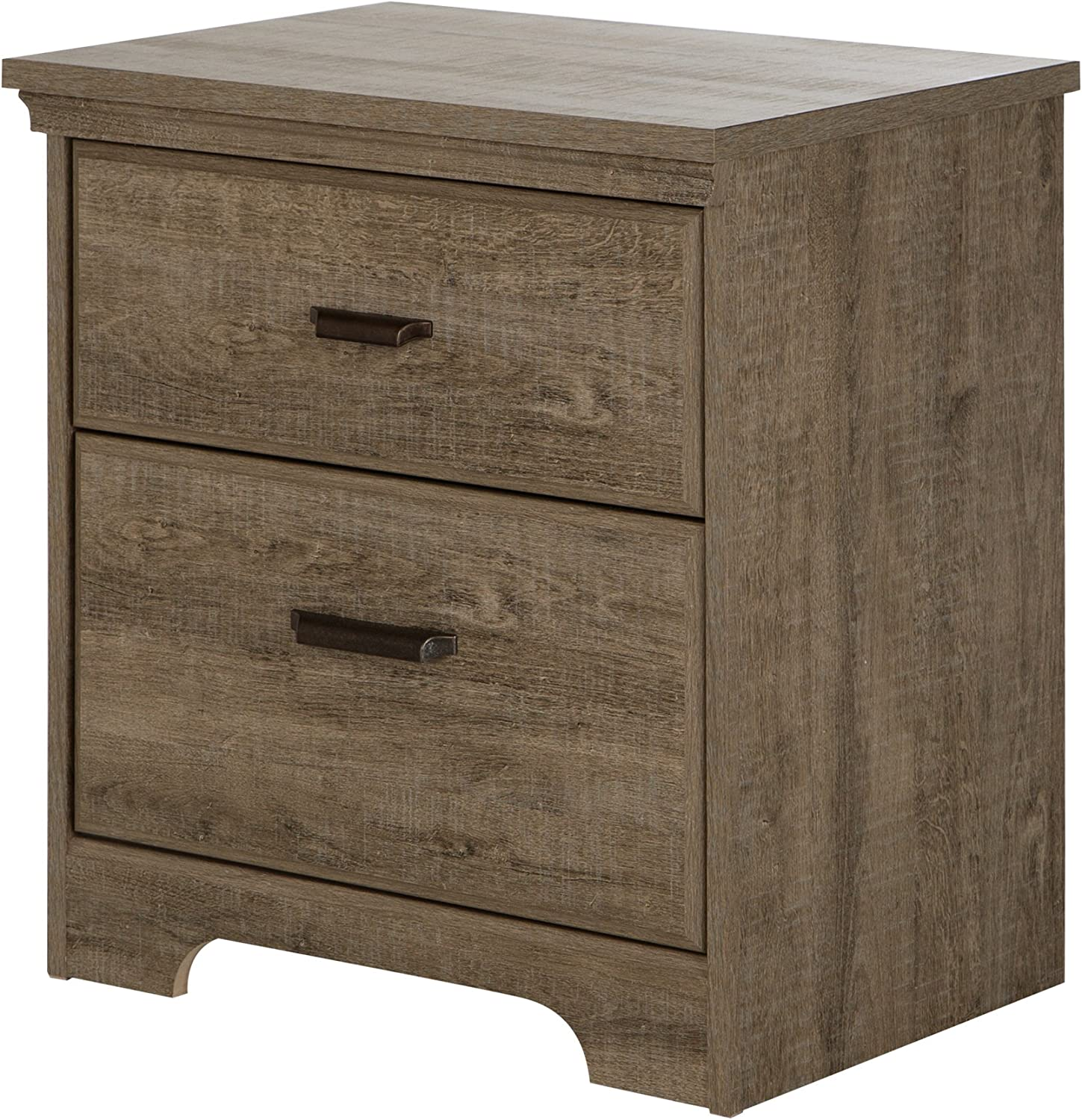 South Shore Furniture Versa 2-Drawer Nightstand, Weathered Oak