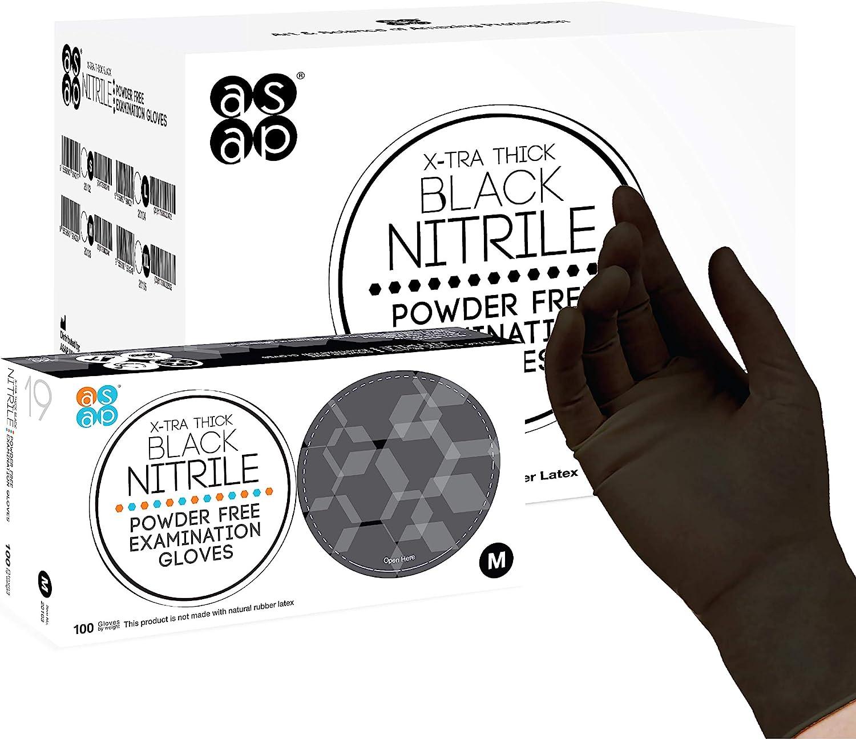 ASAP Black Nitrile Powder Free Examination Gloves, Disposable, 4 mil, Black