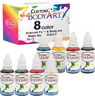 Custom Body Art 1-oz 8 Color Primary AirbrushWater Base Face-Body Paint Set