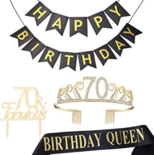 BABEYOND 70th Birthday Tiara and Sash 70th Cake Topper Happy Birthday Banner Satin Birthday Queen Sash 70th Birthday Party Supplies Rhinestone 70th Princess Crown (Set-2)