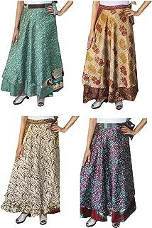 Wholesale 4 Pcs Lot Two Layers Women's Indian Sari Magic Wrap Around Long Skirt