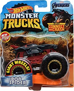 Hot Wheels Monster Trucks 1:64 Scale Iron Spider Connect and Crash, Gray/red