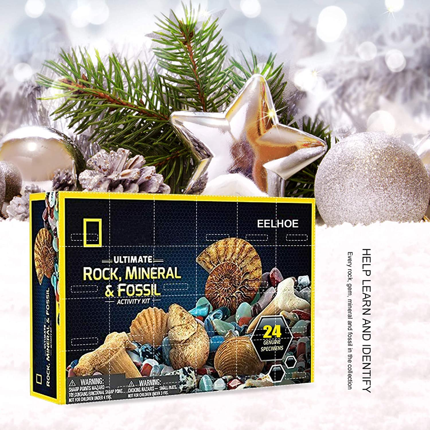 A 24-Piece Rocks Collection 2020 Count Down Advent Calendar National Geography Rocks /& Fossils Kit Educational Toys Gift for Kids Boys Girls Rock and Mineral Collection Activity Kit