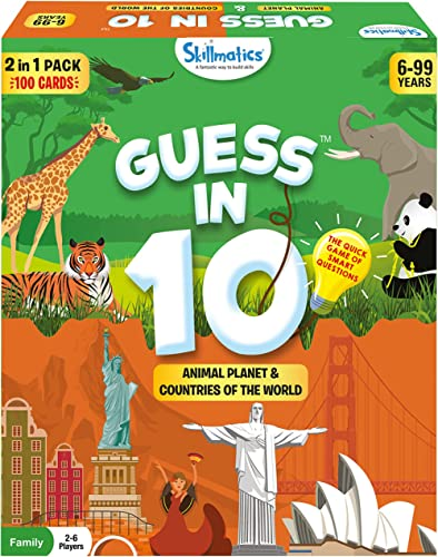 Skillmatics Card Game : Guess in 10 Animal & Countries Combo | Gifts for 6 Year Olds and Up | Super Fun for Travel & ...