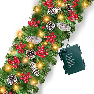 Prelit Christmas Garland Decoration - [9 Foot by 10 Inch] Battery Operated Lighted Christmas Garland with 50 Lights/ Pine ...
