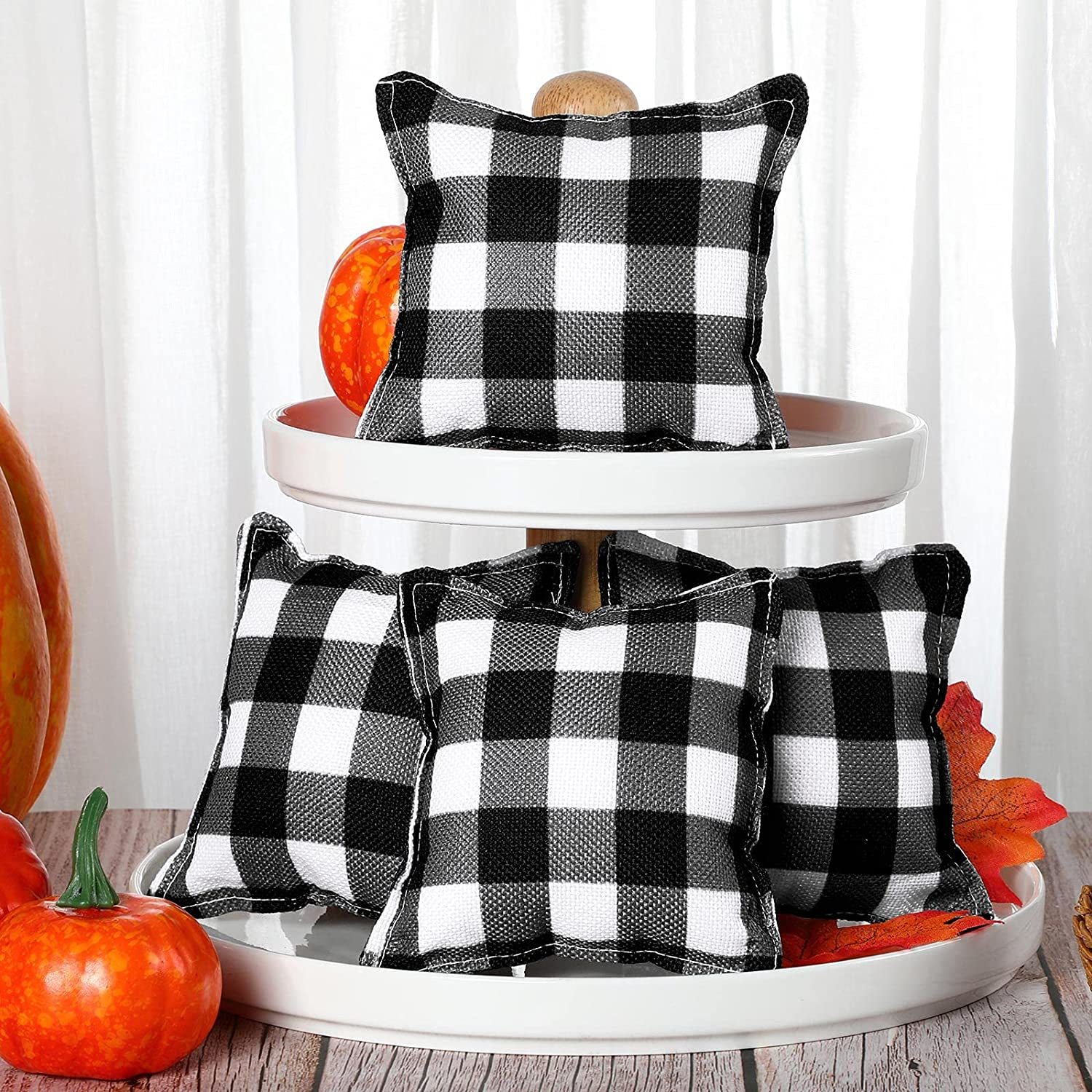 4 Pieces Gifts Mini Very popular Pillows Decorations Plaid Blac Buffalo Pillow