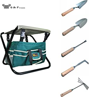 G & F Products 7 Piece All-in-One Premium Garden Tool Set,Heavy Duty Folding Stool, Detachable Canvas Tool Bag and Heavy Duty Steel Tools