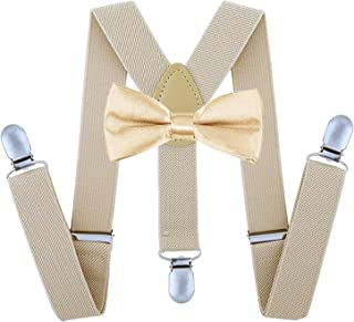 TraderPlus Men Elastic Suspenders and Bow Ties Set for Wedding, Formal Events