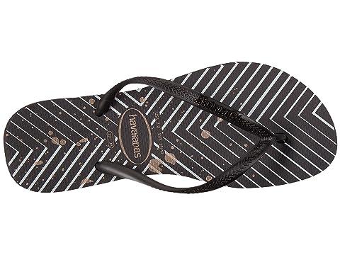 Sandal Metallic Logo Black BlackBlack Slim Havaianas SilverChevron pTwtU