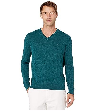 Michael Kors Cotton Embroidered V-Neck Sweater (Atlantic Melange) Men