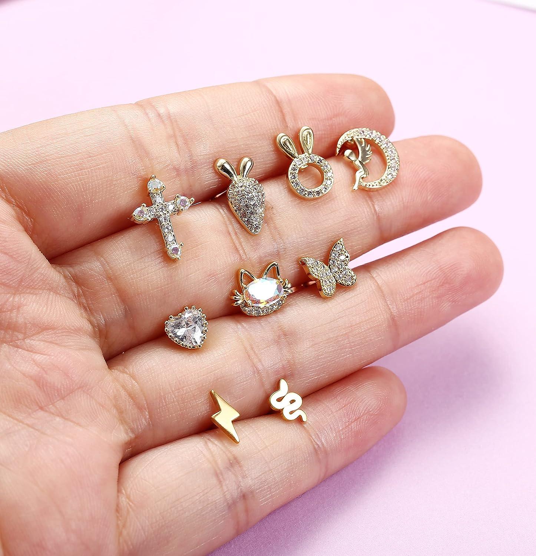 Drperfect 9Pcs 16G Cartlidge Earrings Stud Cubic Zirconia Stud Earrings Stainless Steel Conch Helix Tragus Daith Piercing Jewelry for Women Men