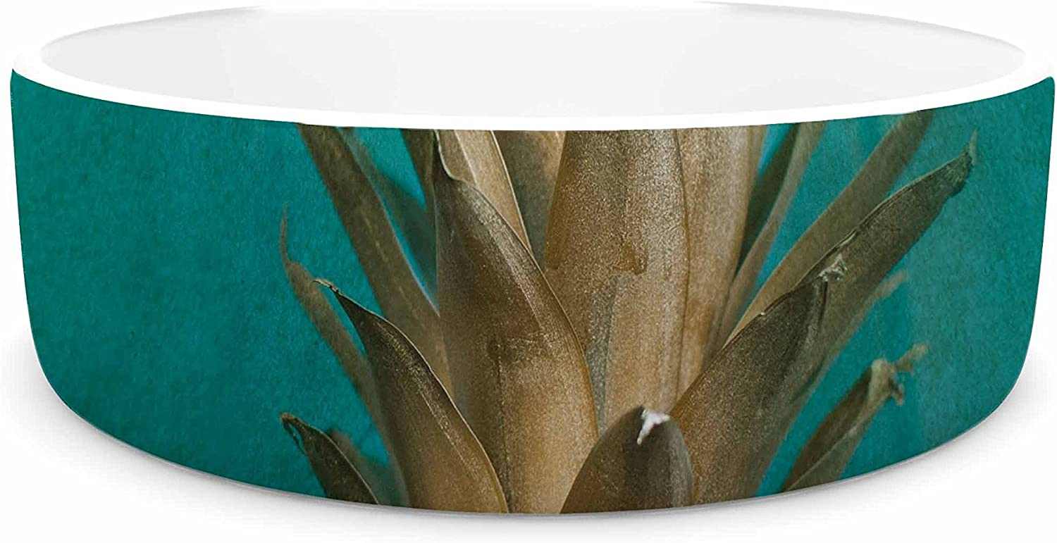 KESS InHouse Chelsea Victoria 24 Karat Pineapple  gold Digital Pet Bowl, 7
